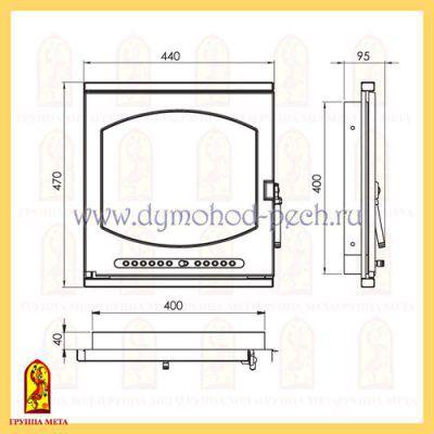 Печная дверь Лион ДП440-1Б от группы Мета схема