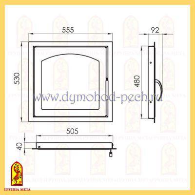 Дверь каминная от группы Мета ДК555-1А схема