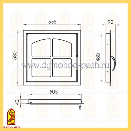 Дверь каминная от группы Мета ДК555-1К схема