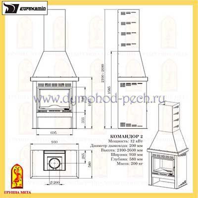 Печь-камин Командор 2 схема