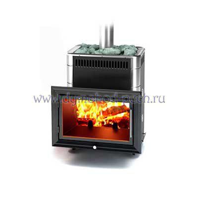 Печь для бани Витрувия Inox антрацит с теплообменником