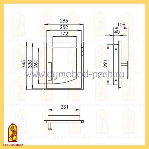 Дверь каминная от группы Мета ДВ285-1П схема