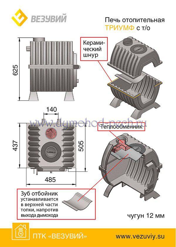 Отопительная печь Триумф 180 с Т/О схема