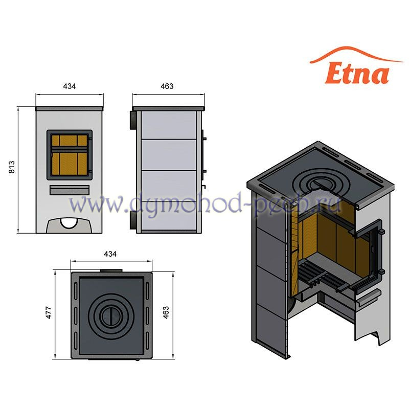Печь-камин Этна (Etna) ДТ-4С