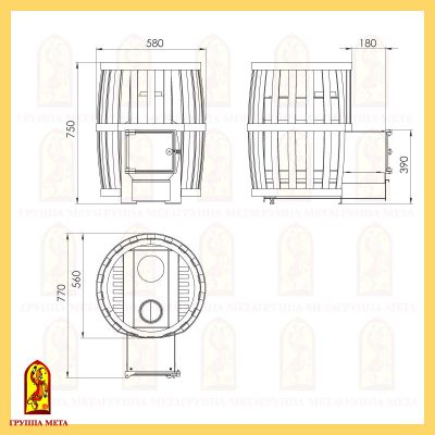 Банная печь Бочка 16Т схема
