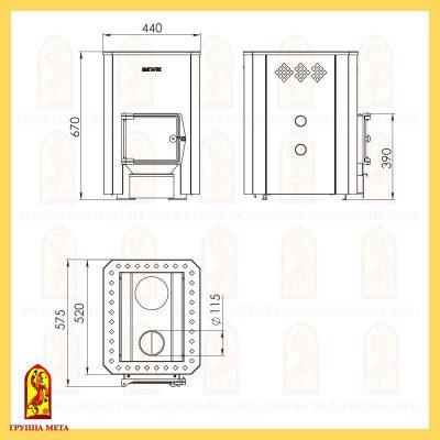 Банная печь Терма 16 схема