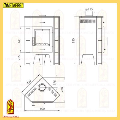 Печь-камин Пехорка 6 угловая схема