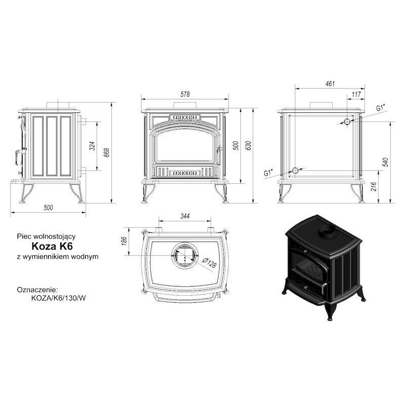 Печь камин Kratki Koza/K6/150/PW/W с теплообменником