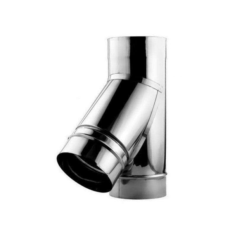 Тройник для дымохода 45° 0,6 мм нерж