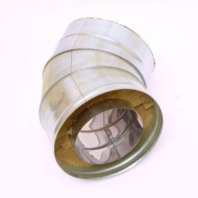 Сэндвич колено для дымохода 45° ст.1 мм нерж./оцинк.