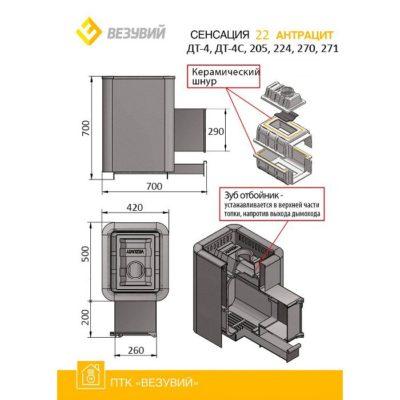 Чугунная печь для бани Везувий Сенсация 22 схема