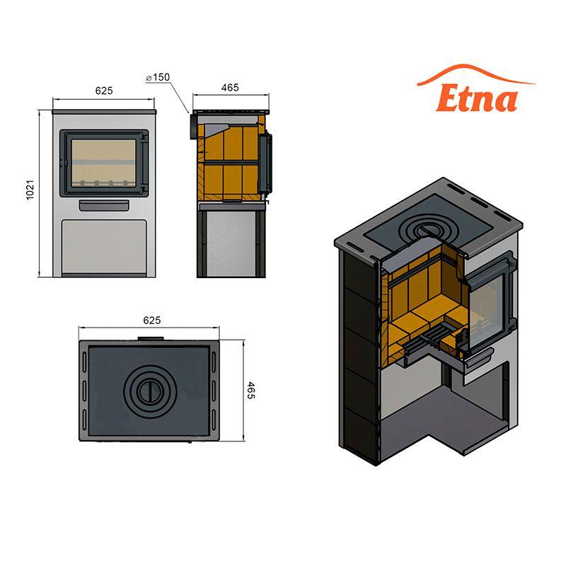 """Печь-камин Этна (Etna) панорама с плитой """"Беж"""" высокий с т/о"""