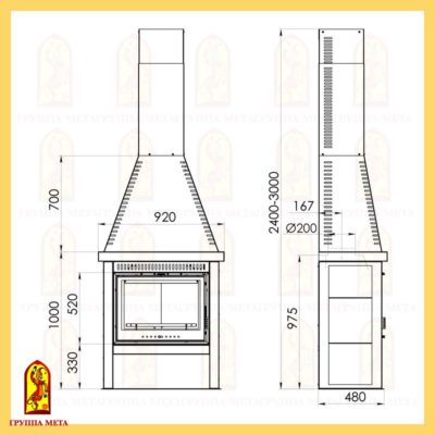 Печь-камин (каминетти) Рейнджер 712