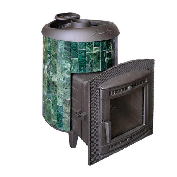 """Печь для бани Атмосфера в ламелях из натурального камня """"Змеевик"""" наборный до 22 м"""