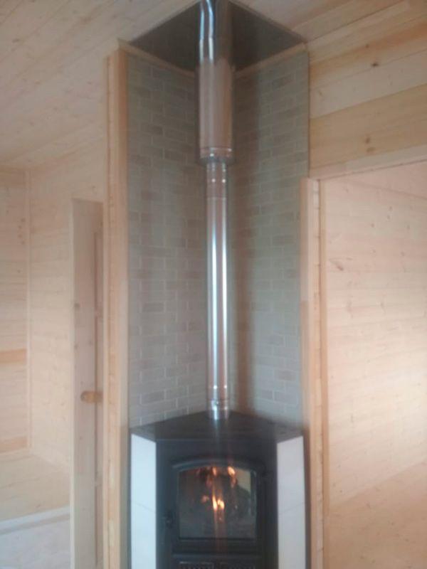 Печь камин Этна Бкд угловой с дымоходом и термоизоляцией (Палкино)