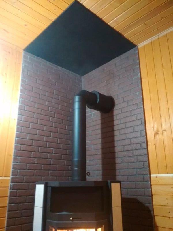 Печь камин Мета Печора Аква с дымоходом и термоизоляцией (Сергиев Пасад)